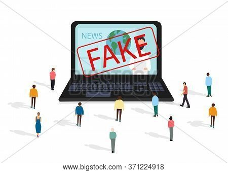 Fake News Metaphors. Mass Media, Hot Online Information, Propaganda Newscast, Vector Illustration On