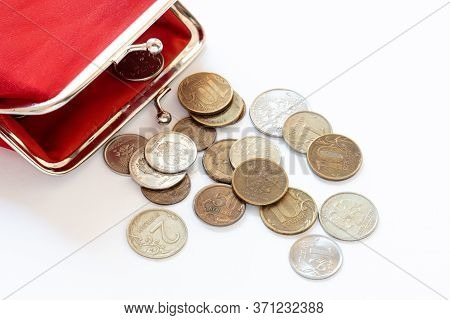 Red Vintage Wallet, Russian Coins, Rubles And Copecks Close-up, The Concept Of A Living Wage, Social