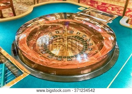 Classic Roulette Wheel With Selective Focus For Bokeh Effect. Concept For Gambling And Casino