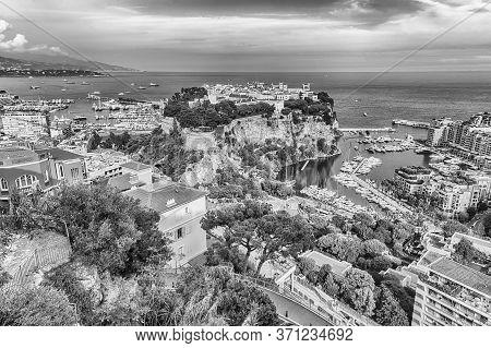Panoramic View Of Monte Carlo, La Condamine, Monaco City And The Port Of Fontvieille, Principality O