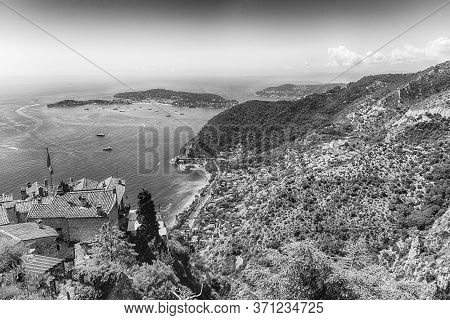 Scenic Aerial View From The Town Of Èze Over The Beautiful Coastline Near The City Of Nice, Cote D'a