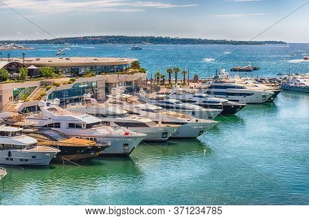 View Over Luxury Yachts Of Vieux Port In Le Suquet District, City Centre And Old Harbour Of Cannes,