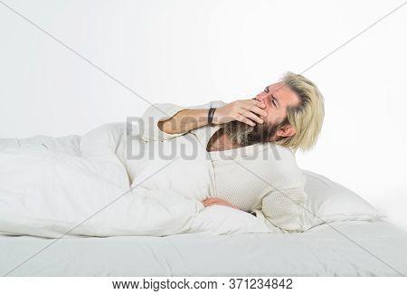 Man In Bed. Morning. Sleepy Yawning Man. Tired Sleepy Man In Bed. Morning Routine. Man In Bedroom. M