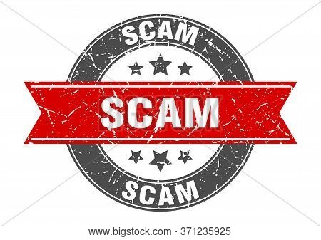 Scam Round Stamp With Red Ribbon. Scam