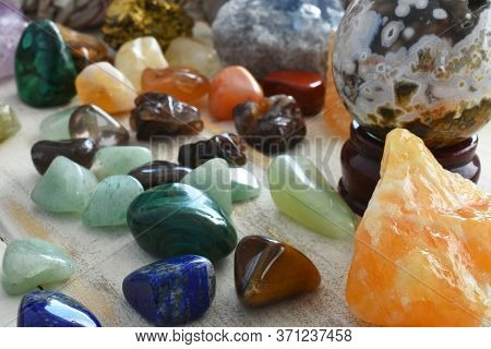 A Close Up Image Of Several Different Energy Healing Crystals Used For Different Types Of Energy Hea