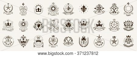 Heraldic Coat Of Arms With Crowns And Stars Vector Big Set, Vintage Antique Heraldic Badges And Awar
