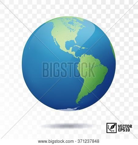 3d Isolated Vector Earth, Globe With View Of The Continents Of North And South America