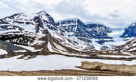 The Famous Athabasca Glacier And The Surrounding Mountains Of The Columbia Icefields In Jasper Natio