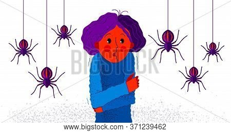 Arachnophobia Fear Of Spiders Vector Illustration, Girl Surrounded By Spiders Scared In Panic Attack
