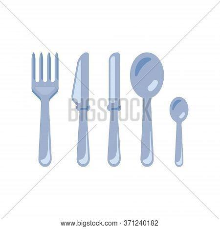 Cutlery - Fork, Knife, Spoon, Tea Spoon. Vector Illustration