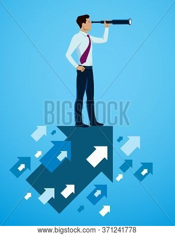 Businessman Looking For Opportunities In Spyglass, Business Concept Vector Illustration, Successful
