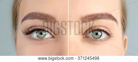 Collage With Photos Of Young Woman Before And After Eyelash Extension Procedure, Closeup. Banner Des