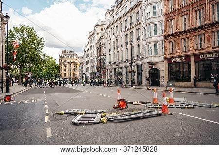 London / Uk - 06/13/2020: Black Lives Matter Protest During Lockdown Coronavirus Pandemic. Broken Ba