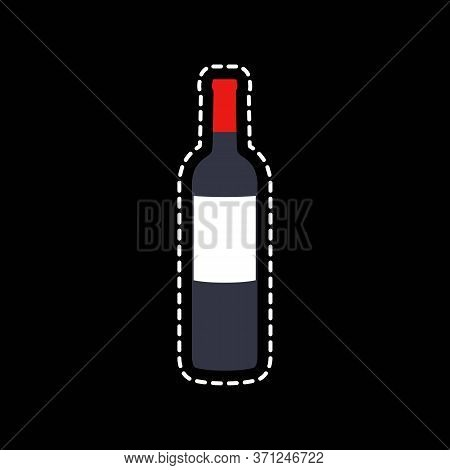 Bottle Of Wine Flat Icon, Vector Color Illustration