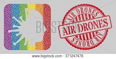 Grunge Air Drones Stamp Seal And Mosaic Coronavirus Man Head Stencil For Lgbt. Dotted Rounded Rectan