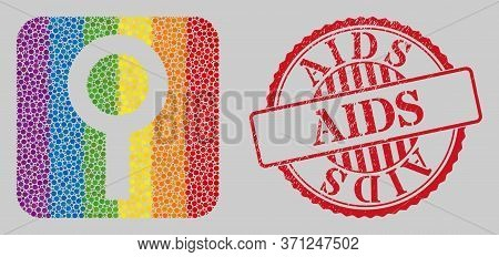 Distress Aids Stamp And Mosaic Barren Gender Symbol Subtracted For Lgbt. Dotted Rounded Rectangle Mo