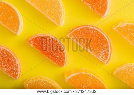 Macro Photo Multi-colored Marmalade Jelly Candy's. Dessert Marmalade In The Form Of Lemon And Orange