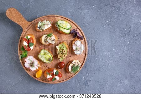 Set Different Sandwiches With Bruschetta And Different Vegetables. Vegetarian Concept. Summer Snack.