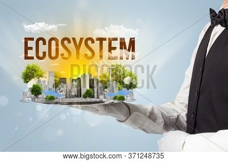 Waiter serving eco city with ECOSYSTEM inscription, renewabke energy concept
