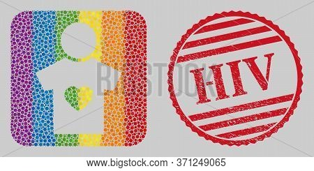 Distress Hiv Stamp Seal And Mosaic Boyfriend Hole For Lgbt. Dotted Rounded Rectangle Collage Is Arou