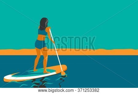 Woman Standing On Board With A Paddle. Standup Paddleboarding Sup. Sports Girl At Sea, Ocean. Stand
