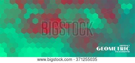Hexagonal Geometric Banner In Duotone Colors Style Vector Design Illustration