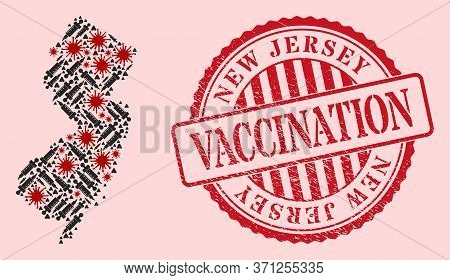 Vector Mosaic New Jersey State Map Of Sars Virus, Treatment Icons, And Red Grunge Vaccination Seal S