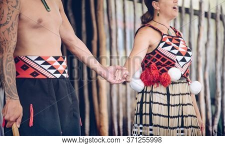 Rotorua, New Zealand -december-11-2017 : Cropped Shot Of Maori Tribes Traditional Greeting. The Maor