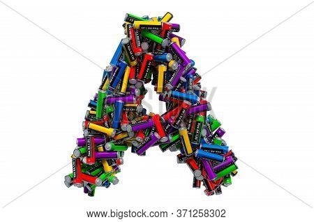 Letter A From Colored Aa Batteries, 3d Rendering Isolated On White Background