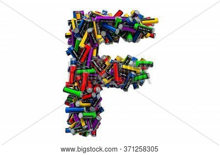Letter F From Colored Aa Batteries, 3d Rendering Isolated On White Background
