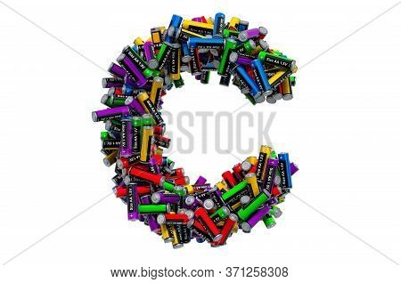 Letter C From Colored Aa Batteries, 3d Rendering Isolated On White Background