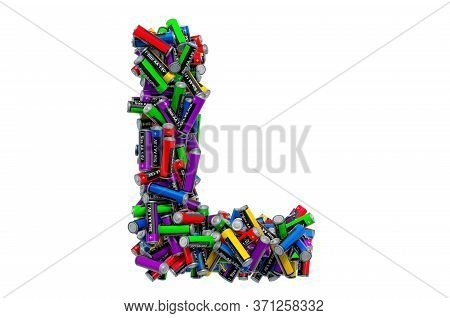 Letter L From Colored Aa Batteries, 3d Rendering Isolated On White Background