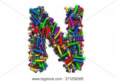 Letter N From Colored Aa Batteries, 3d Rendering Isolated On White Background