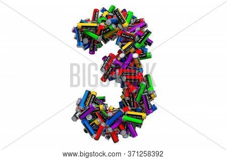 Number 3 From Colored Aa Batteries, 3d Rendering Isolated On White Background