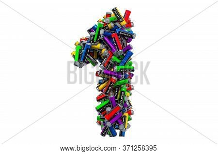 Number 1 From Colored Aa Batteries, 3d Rendering Isolated On White Background