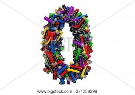 Number 0 From Colored Aa Batteries, 3d Rendering Isolated On White Background