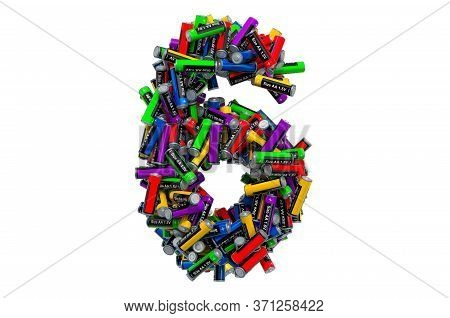 Number 6 From Colored Aa Batteries, 3d Rendering Isolated On White Background
