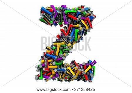 Letter Z From Colored Aa Batteries, 3d Rendering Isolated On White Background