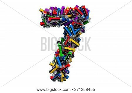 Number 7 From Colored Aa Batteries, 3d Rendering Isolated On White Background
