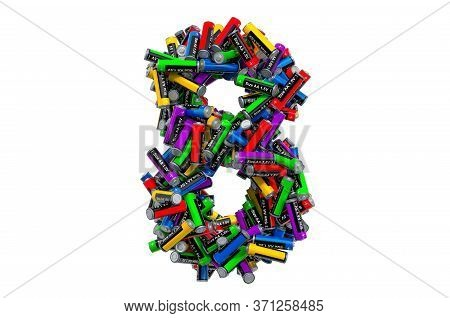 Number 8 From Colored Aa Batteries, 3d Rendering Isolated On White Background