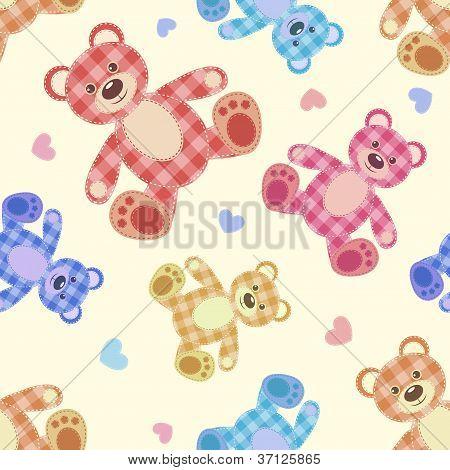 Seamless bear light patchwork pattern. Vector cartoon background. poster