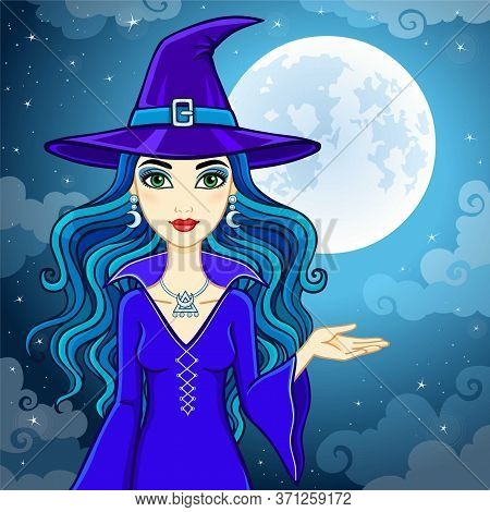 Animation Cute Witch In A Hat On A Background Of The Night Sky And The Moon. Vector Illustration
