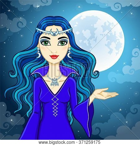 Animation Cute Witch  On A Background Of The Night Sky And The Moon. Vector Illustration