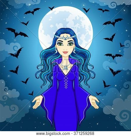 Animation Beautiful Witch Operates Pack Of Bats. A Background - The Night Sky. Vector Illustration.