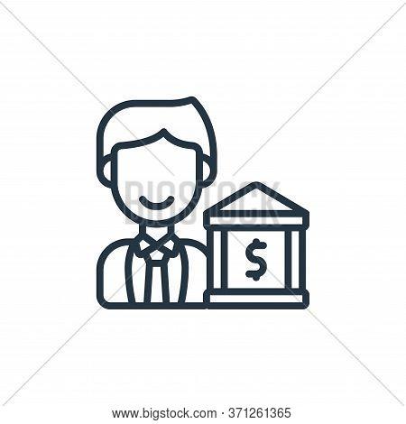 Banker Vector Icon. Banker Editable Stroke. Banker Linear Symbol For Use On Web And Mobile Apps, Log