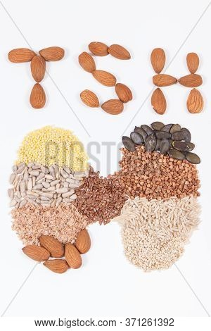 Inscription Tsh And Thyroid Shape Made Of Natural Ingredients. Best Food For Healthy Thyroid Contain