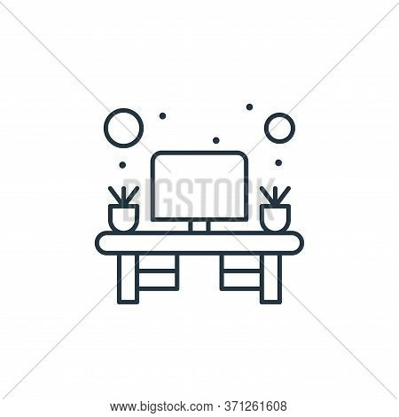 Office Desk Vector Icon. Office Desk Editable Stroke. Office Desk Linear Symbol For Use On Web And M