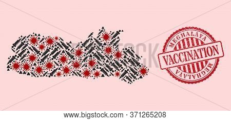 Vector Mosaic Meghalaya State Map Of Covid-2019 Virus, Inoculation Icons, And Red Grunge Vaccine Sea