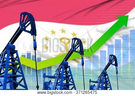 Tajikistan Oil Industry Concept, Industrial Illustration - Growing Graph On Tajikistan Flag Backgrou