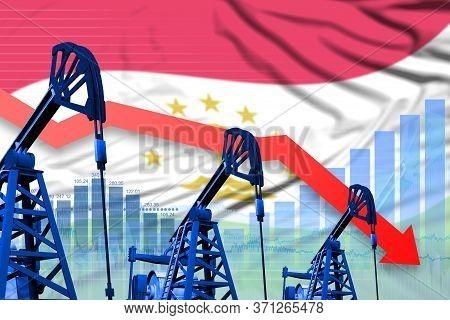 Tajikistan Oil Industry Concept, Industrial Illustration - Lowering, Falling Graph On Tajikistan Fla